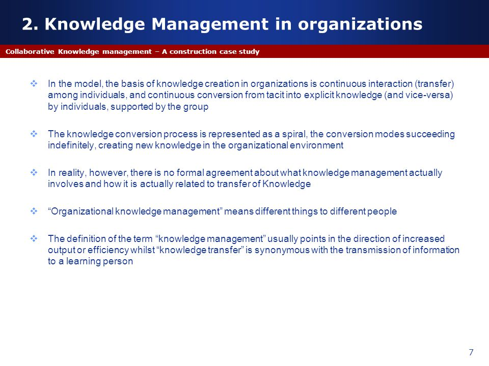 2. Knowledge Management in organizations