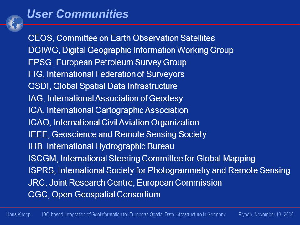 User Communities CEOS, Committee on Earth Observation Satellites