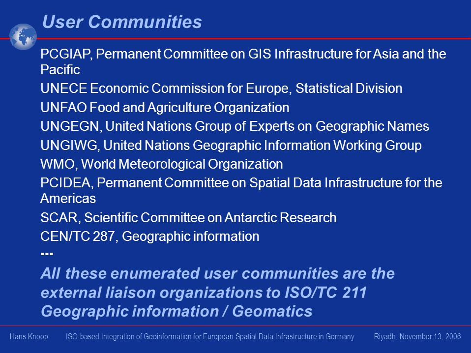 User Communities PCGIAP, Permanent Committee on GIS Infrastructure for Asia and the Pacific.