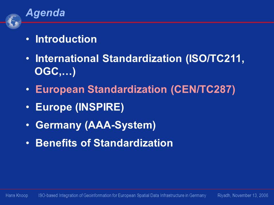 International Standardization (ISO/TC211, OGC,…)