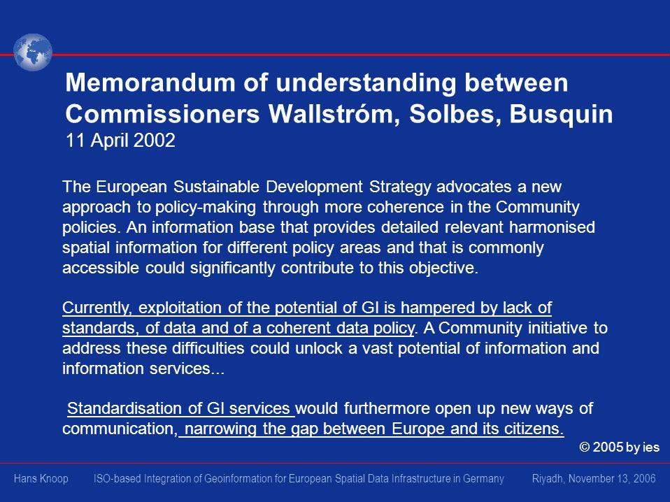 Memorandum of understanding between Commissioners Wallstróm, Solbes, Busquin 11 April 2002