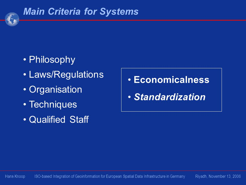 Main Criteria for Systems