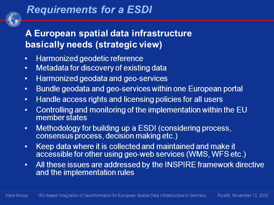 Requirements for a ESDI