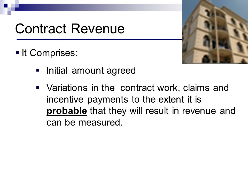 Contract Revenue It Comprises: Initial amount agreed