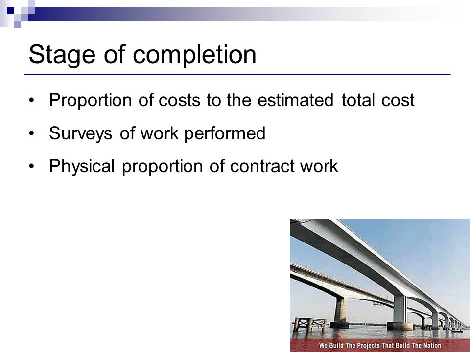 Stage of completion Proportion of costs to the estimated total cost
