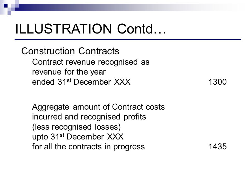 ILLUSTRATION Contd… Construction Contracts Contract revenue recognised as revenue for the year ended 31st December XXX 1300.