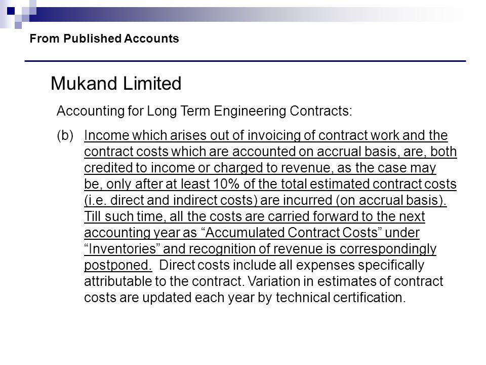 Mukand Limited Accounting for Long Term Engineering Contracts: