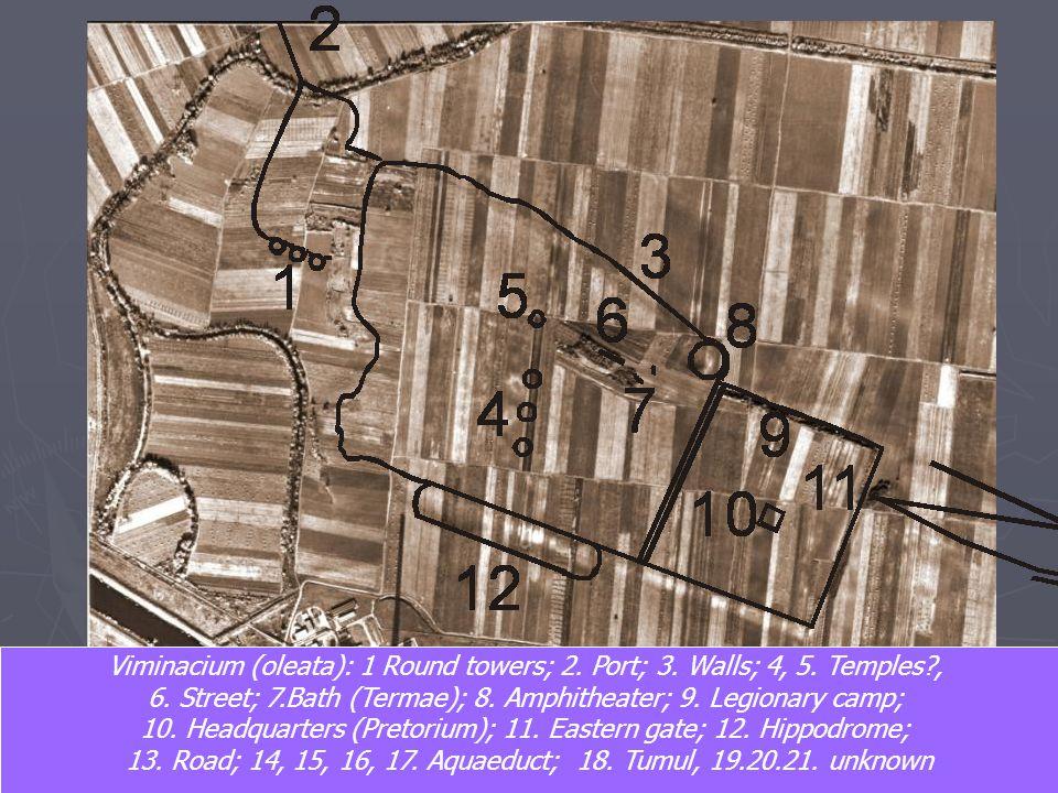 6. Street; 7.Bath (Termae); 8. Amphitheater; 9. Legionary camp;