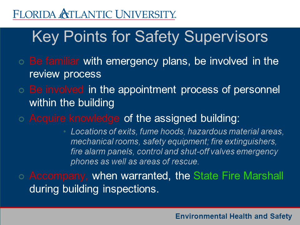Key Points for Safety Supervisors