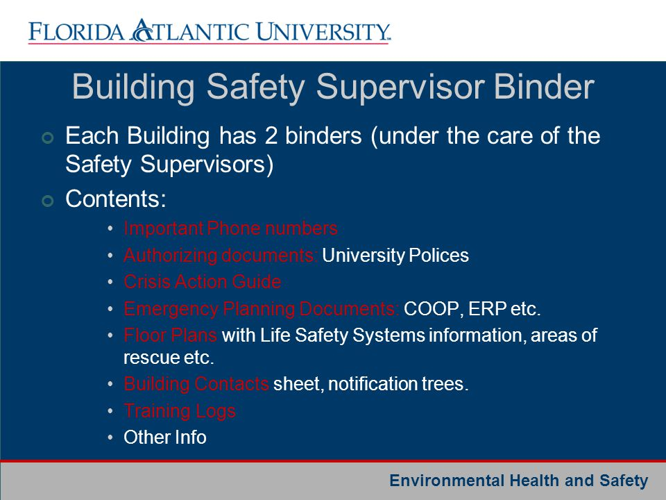 Building Safety Supervisor Binder