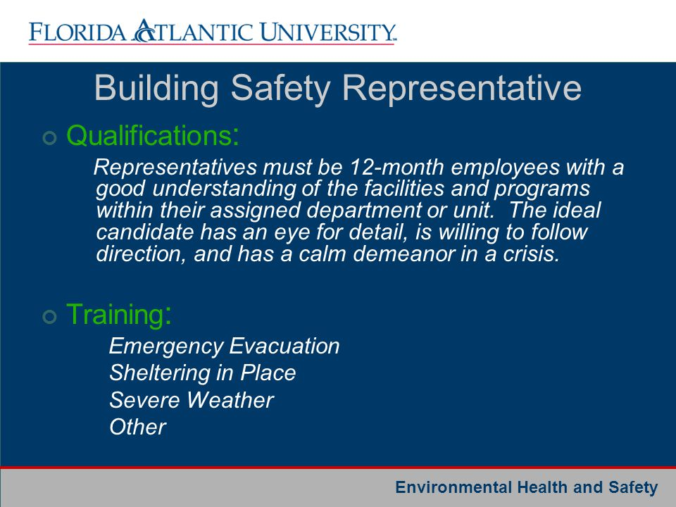 Building Safety Representative