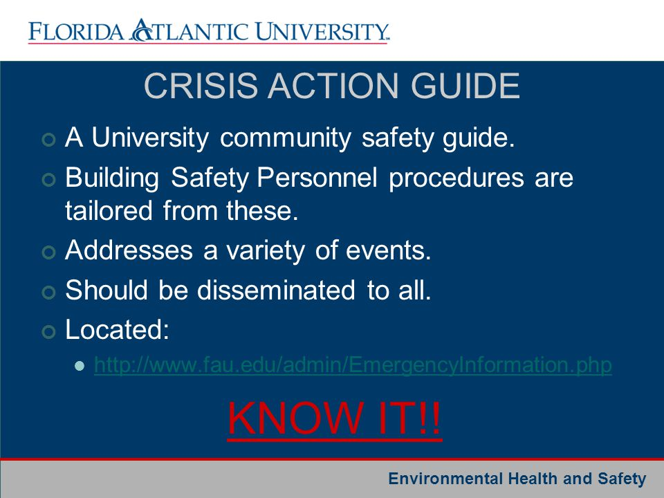 KNOW IT!! CRISIS ACTION GUIDE A University community safety guide.