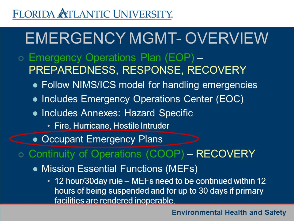 EMERGENCY MGMT- OVERVIEW