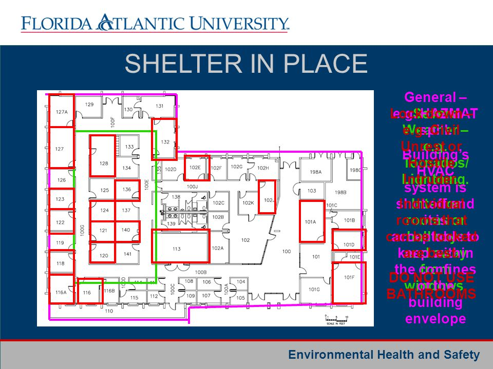 SHELTER IN PLACE General – e.g. HAZMAT spill.