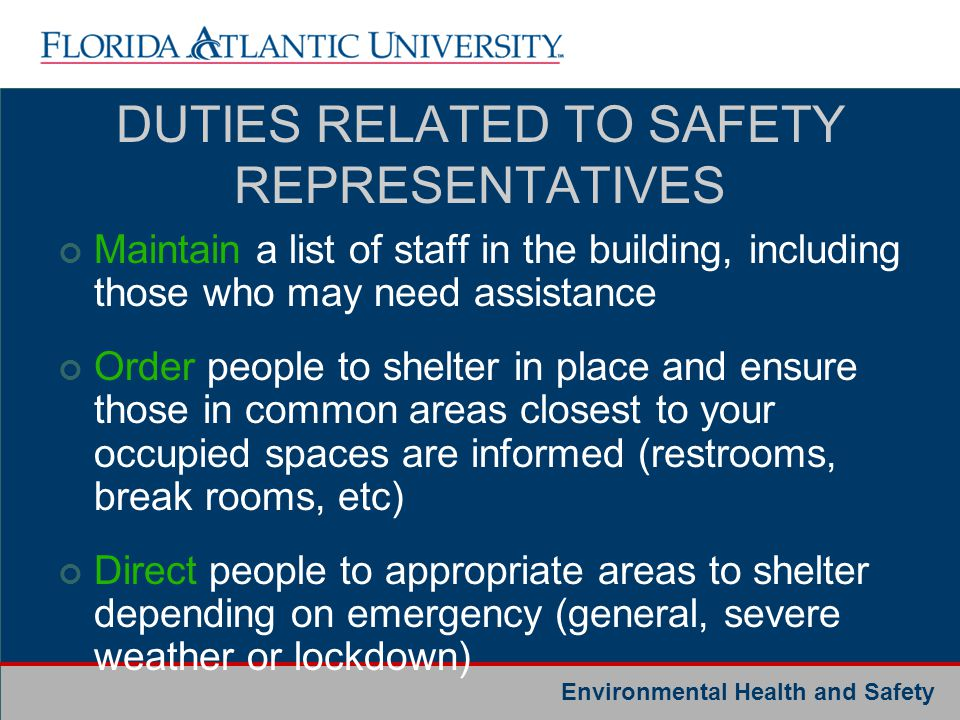 DUTIES RELATED TO SAFETY REPRESENTATIVES