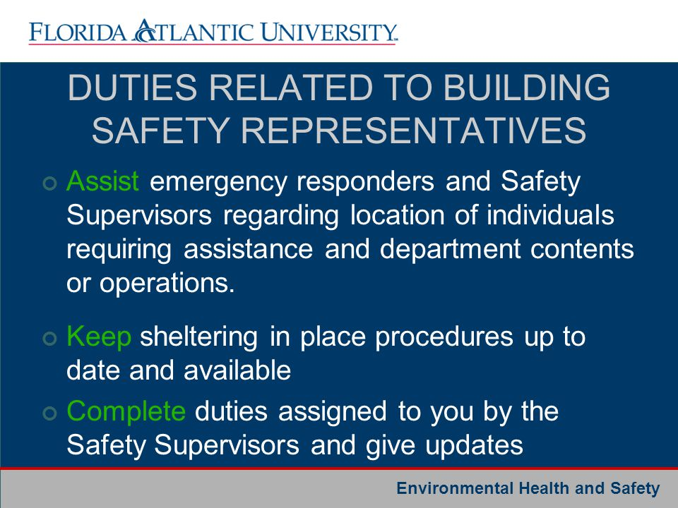 DUTIES RELATED TO BUILDING SAFETY REPRESENTATIVES