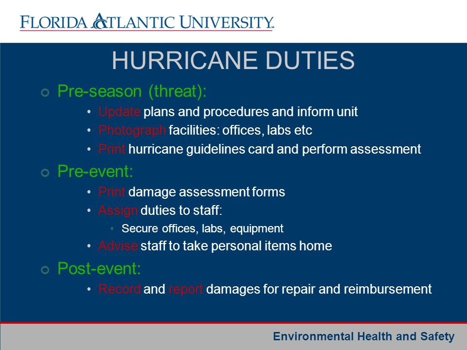 HURRICANE DUTIES Pre-season (threat): Pre-event: Post-event: