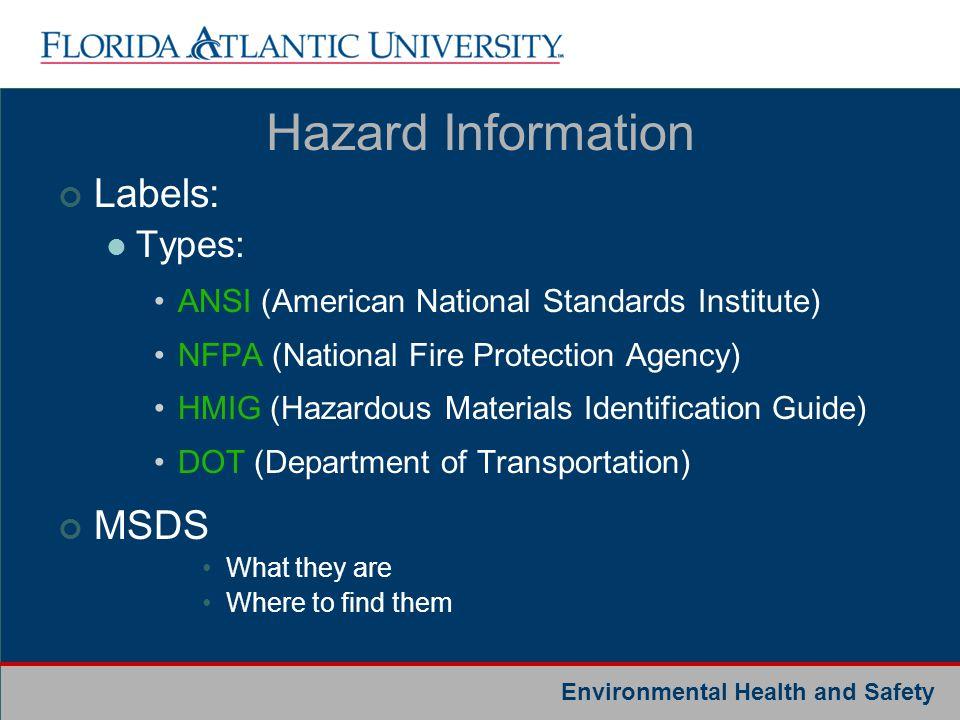 Hazard Information Labels: MSDS Types: