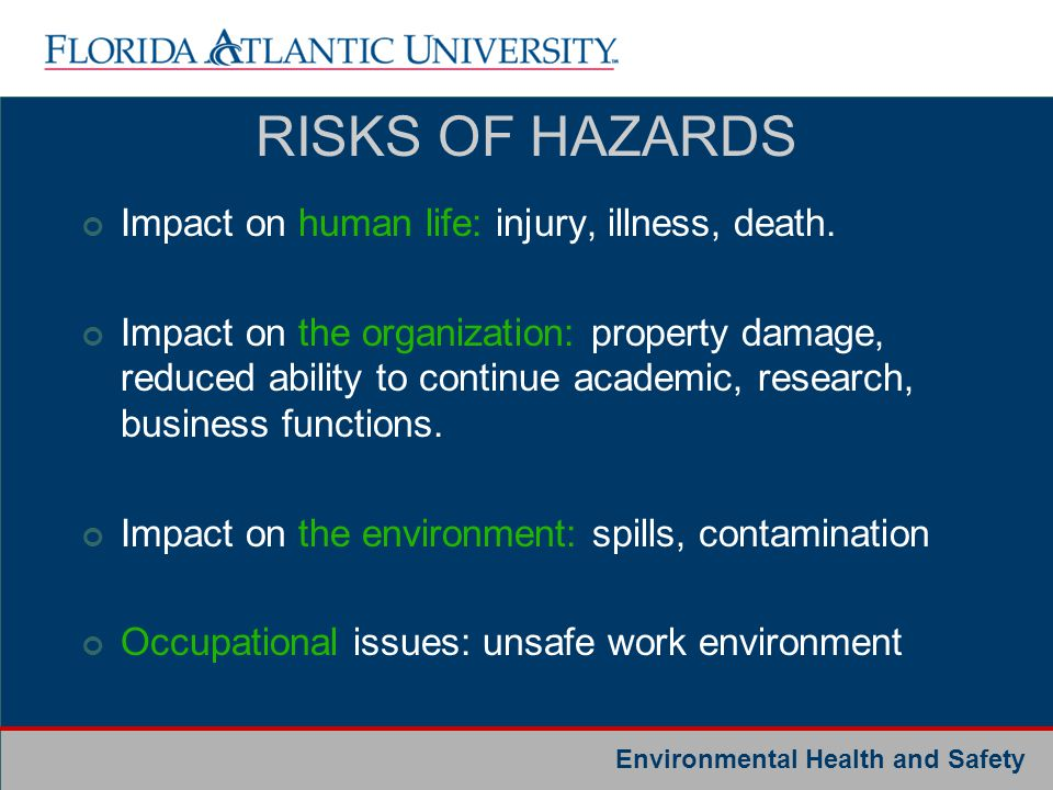 RISKS OF HAZARDS Impact on human life: injury, illness, death.
