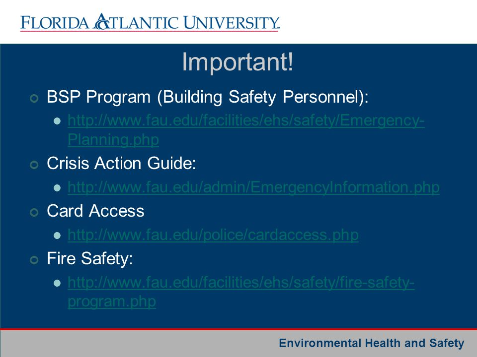 Important! BSP Program (Building Safety Personnel):