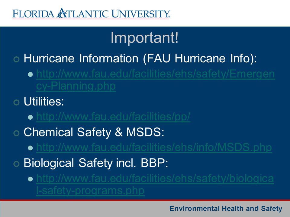 Important! Hurricane Information (FAU Hurricane Info): Utilities: