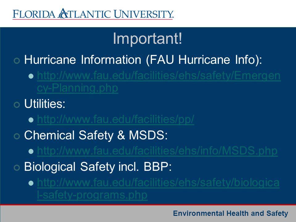 Important! Hurricane Information (FAU Hurricane Info): Utilities: