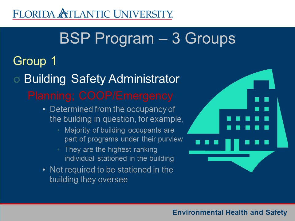BSP Program – 3 Groups Group 1 Building Safety Administrator