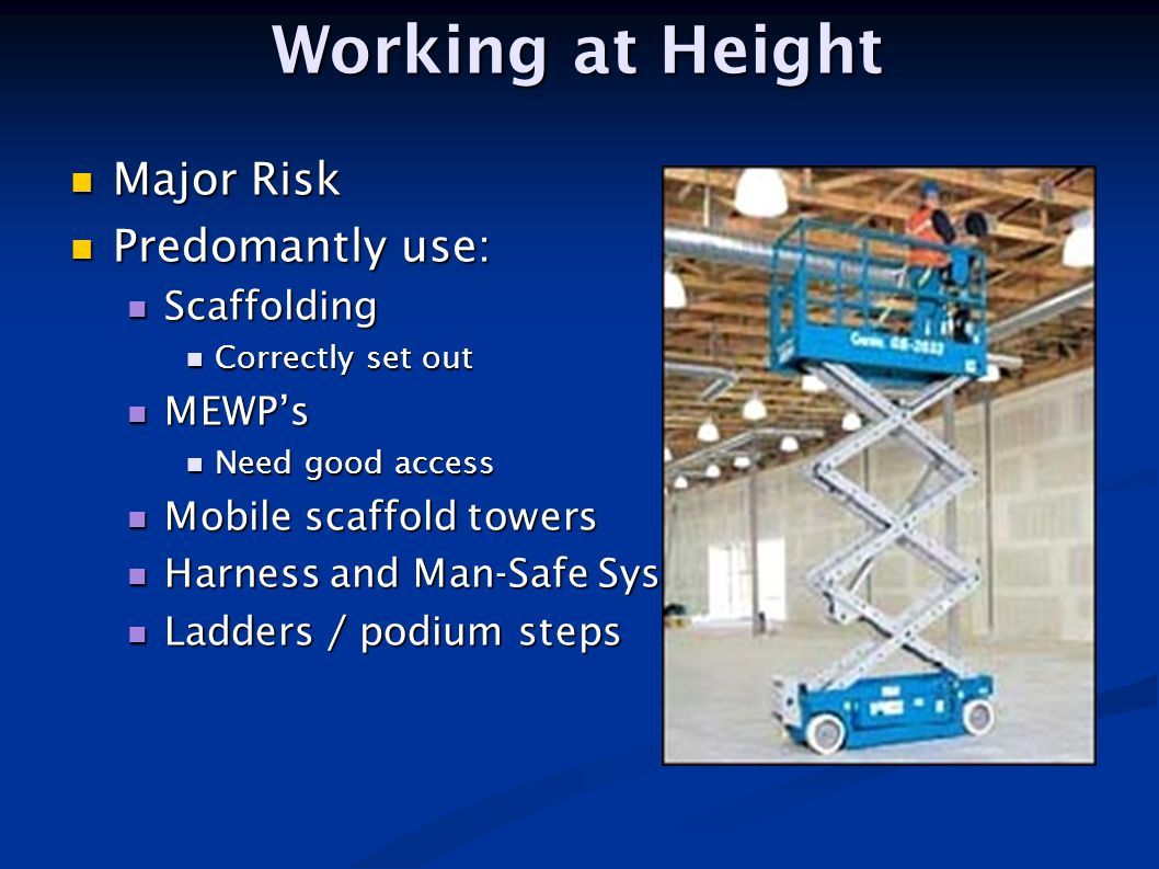 Working at Height Major Risk Predomantly use: Scaffolding MEWP's