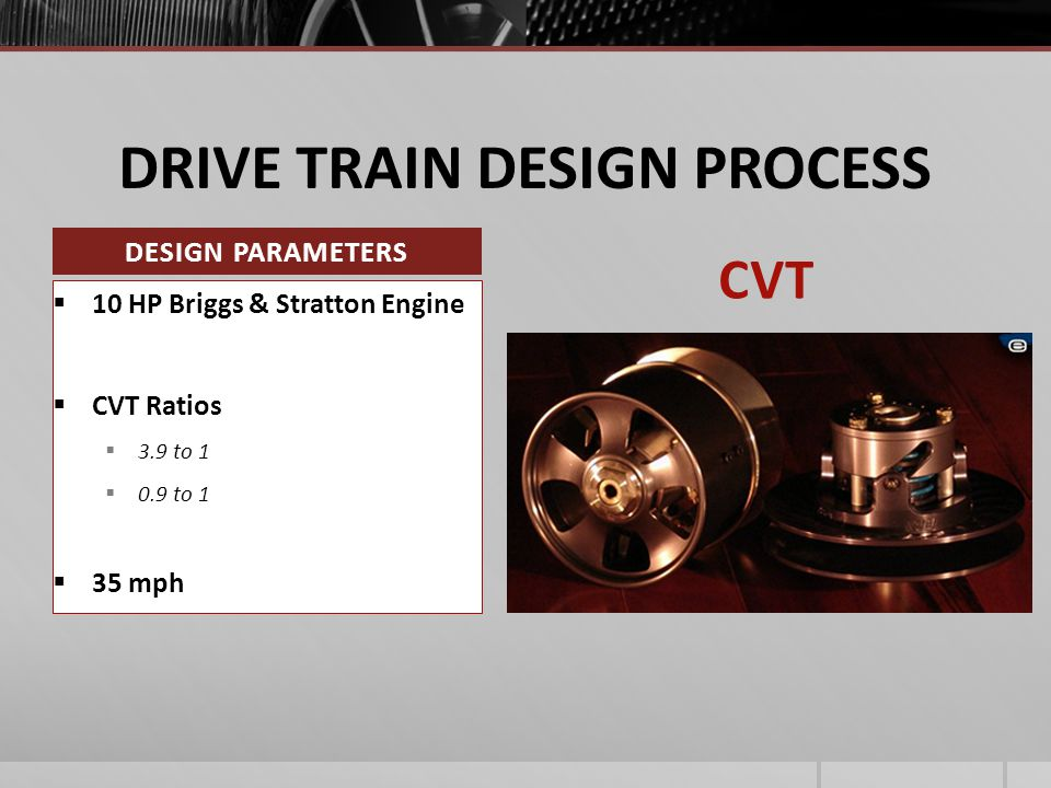 DRIVE TRAIN DESIGN PROCESS