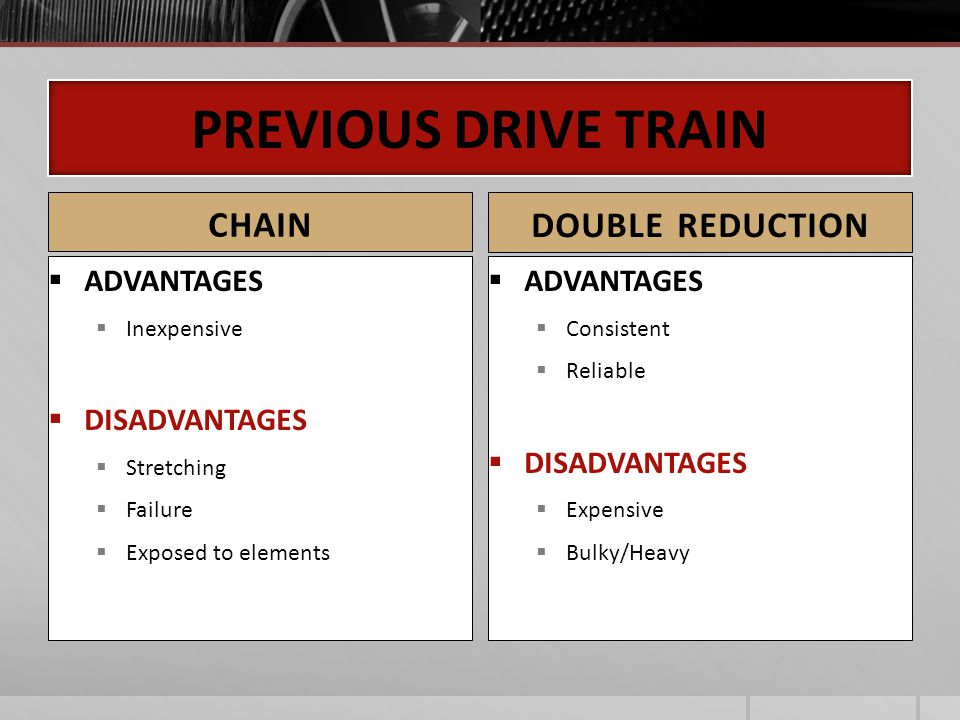 PREVIOUS DRIVE TRAIN CHAIN DOUBLE REDUCTION ADVANTAGES DISADVANTAGES