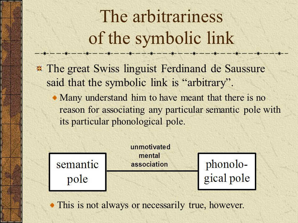 The arbitrariness of the symbolic link
