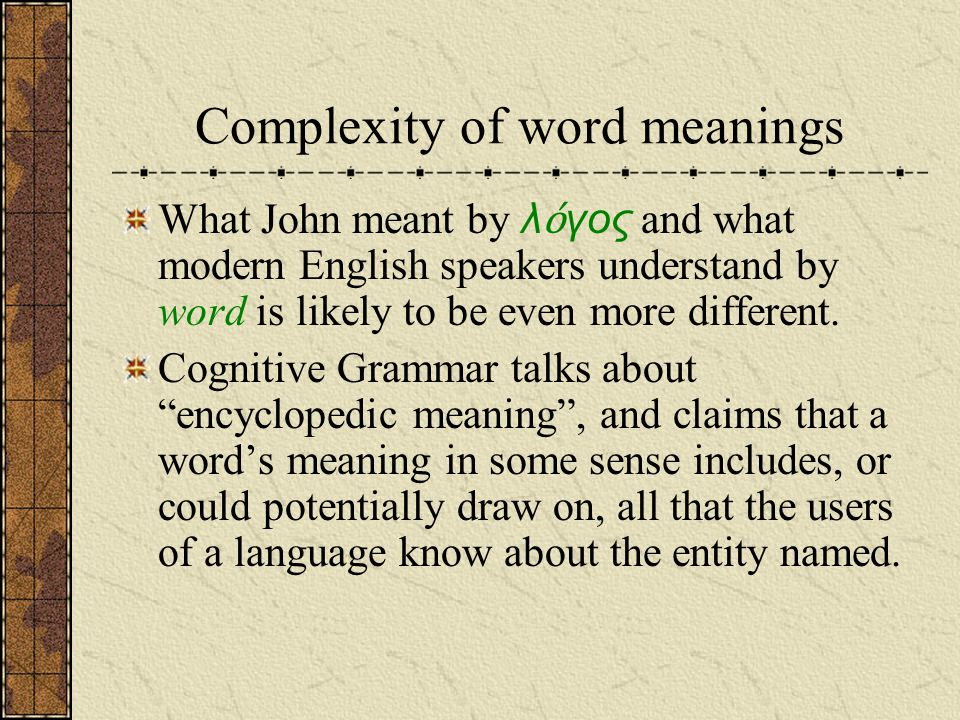 Complexity of word meanings