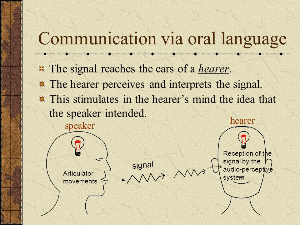 Communication via oral language