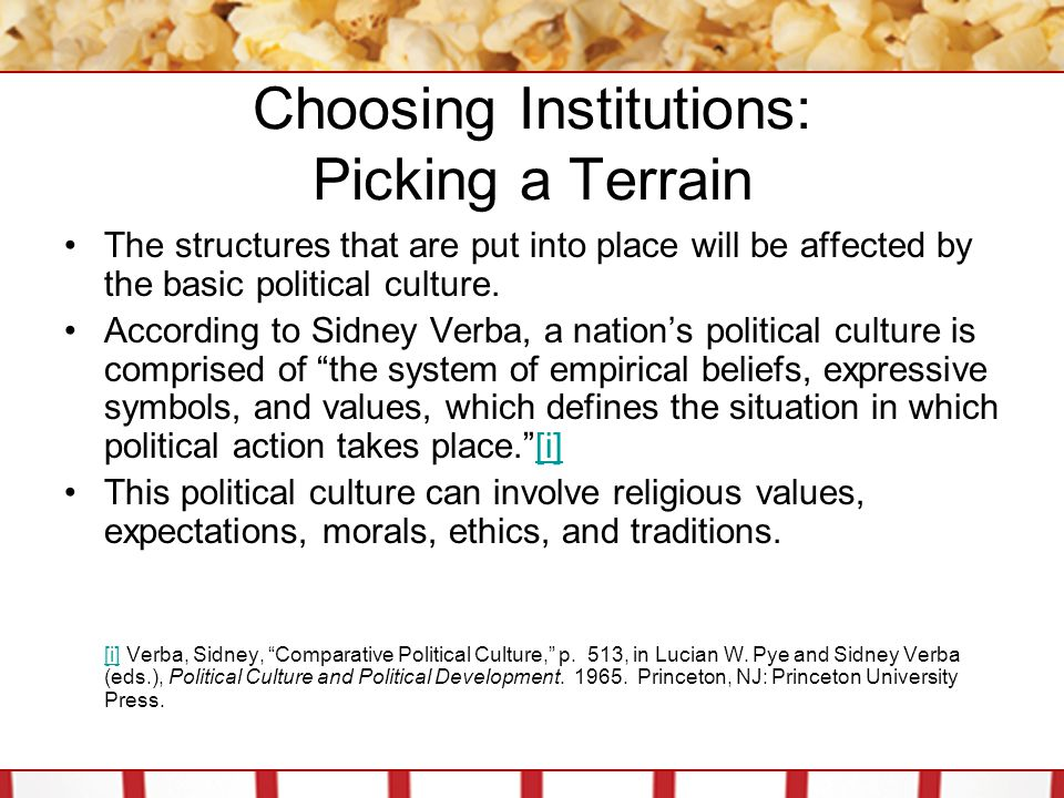Choosing Institutions: Picking a Terrain