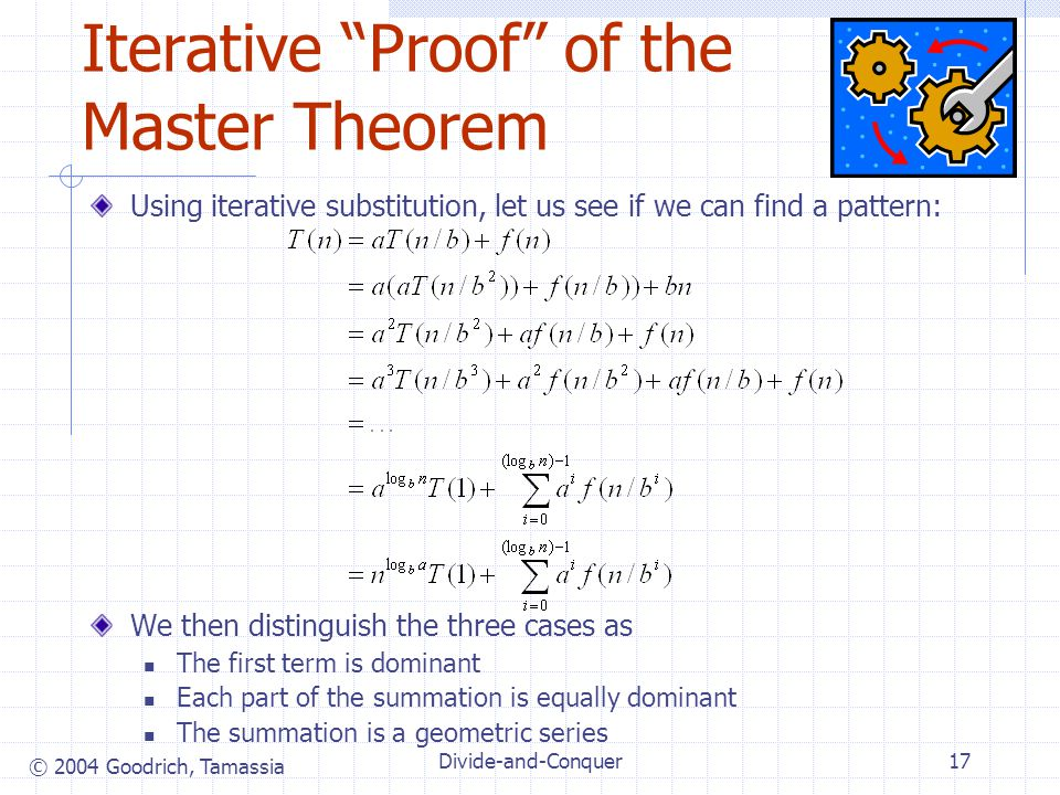 Iterative Proof of the Master Theorem