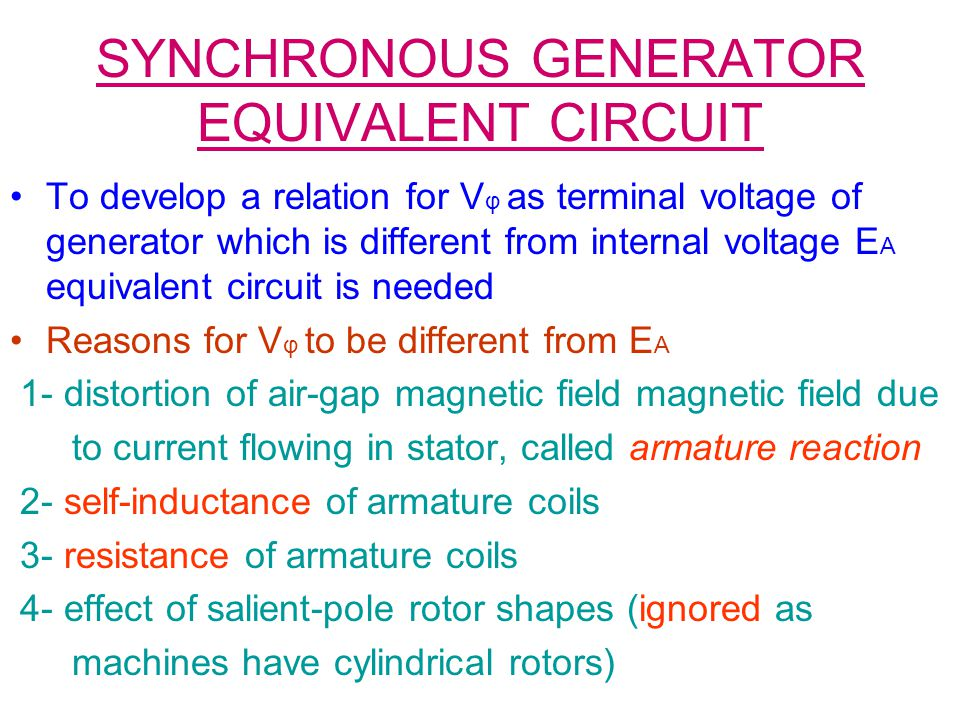 SYNCHRONOUS GENERATOR EQUIVALENT CIRCUIT