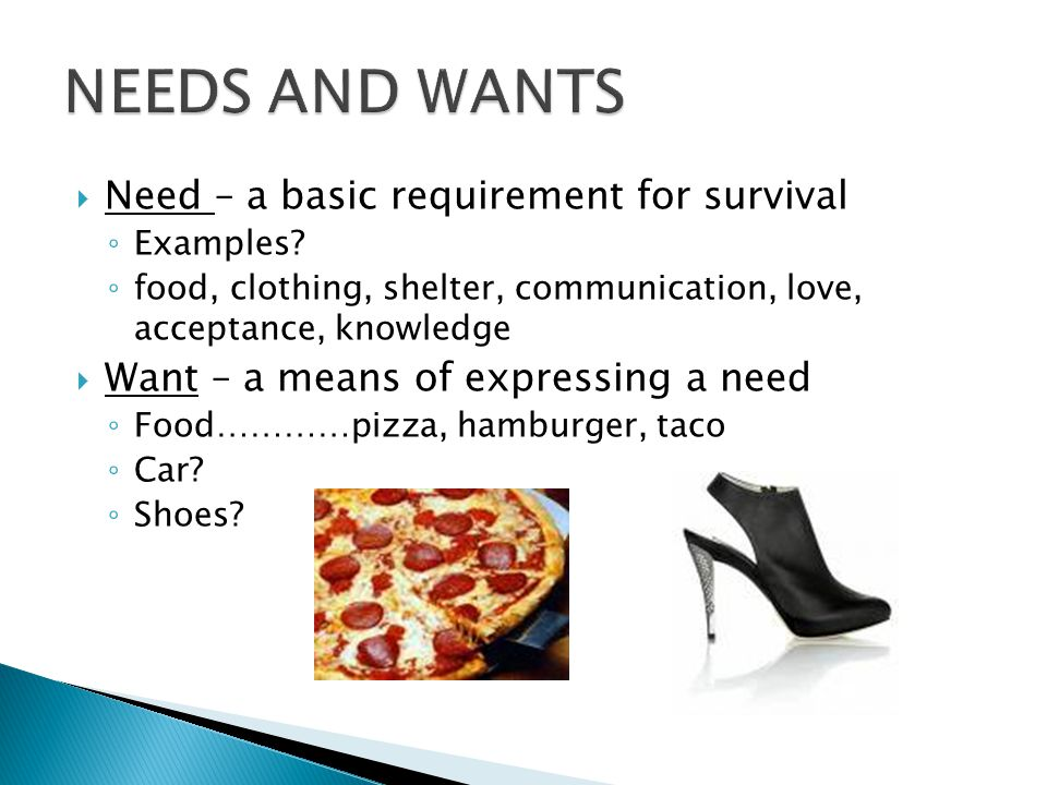 NEEDS AND WANTS Need – a basic requirement for survival