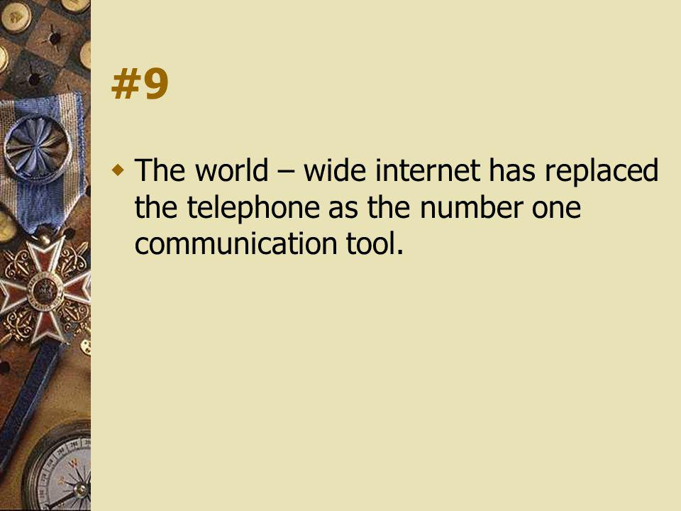 #9 The world – wide internet has replaced the telephone as the number one communication tool.