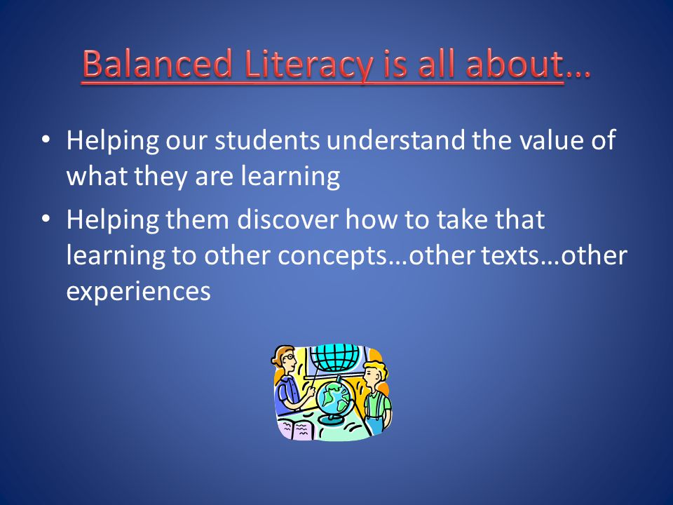 Balanced Literacy is all about…