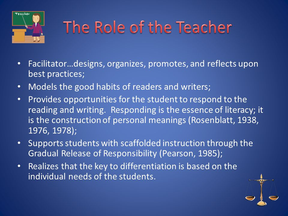 The Role of the Teacher Facilitator…designs, organizes, promotes, and reflects upon best practices;