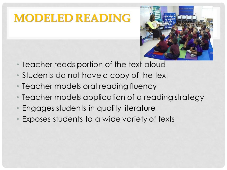Modeled Reading Teacher reads portion of the text aloud