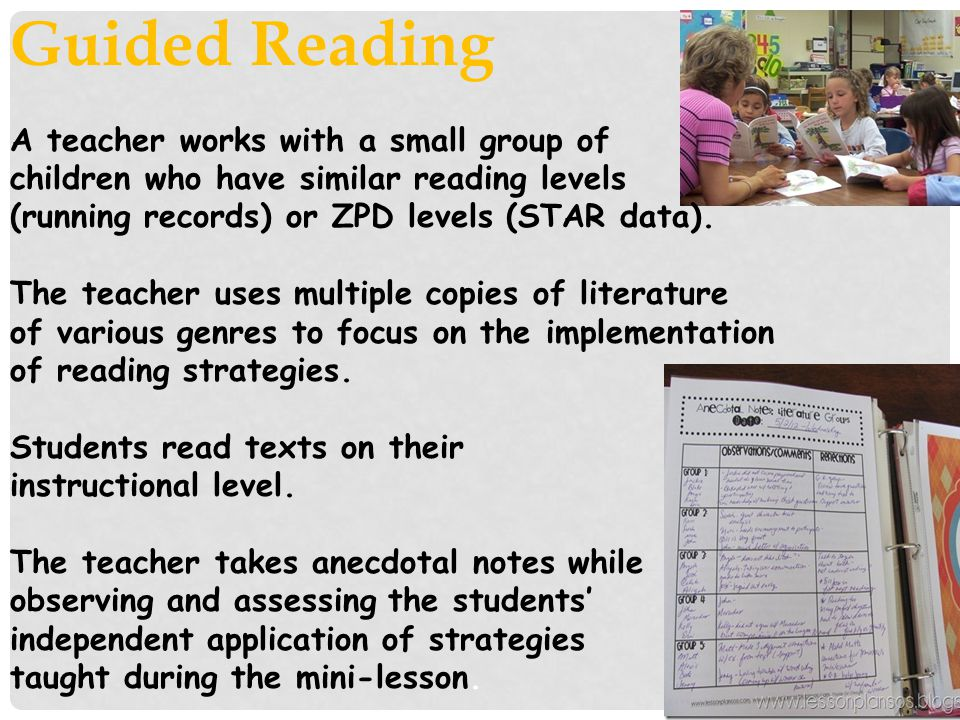 Guided Reading A teacher works with a small group of