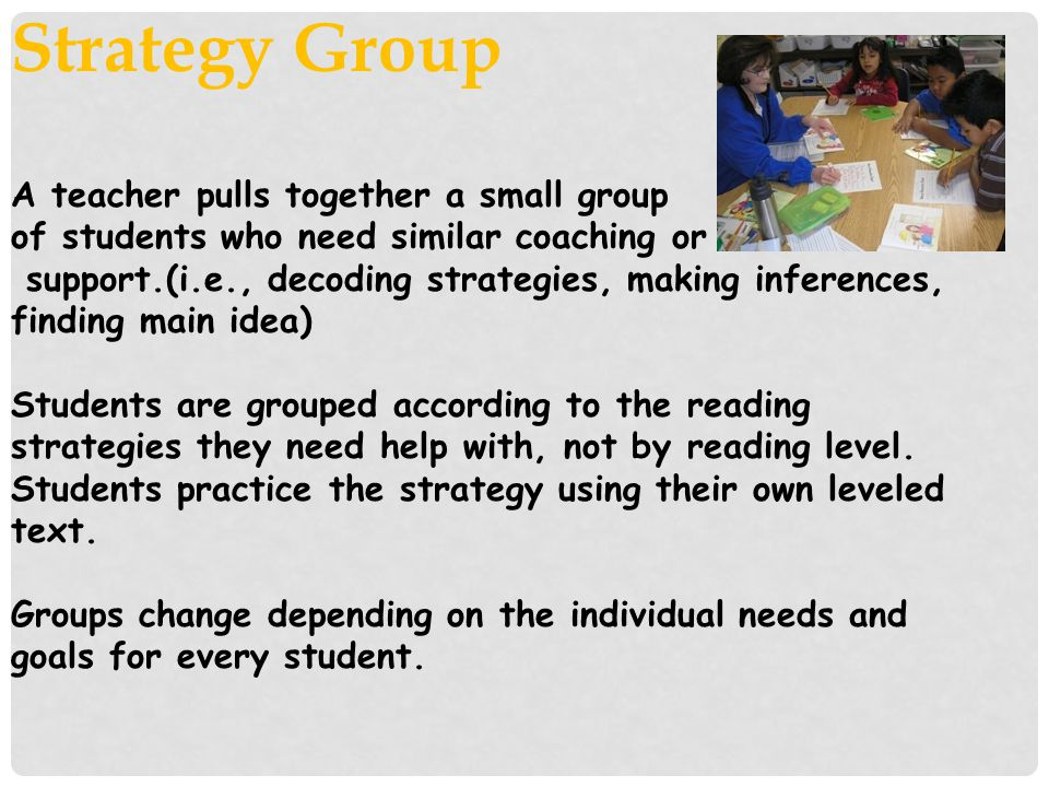 Strategy Group A teacher pulls together a small group