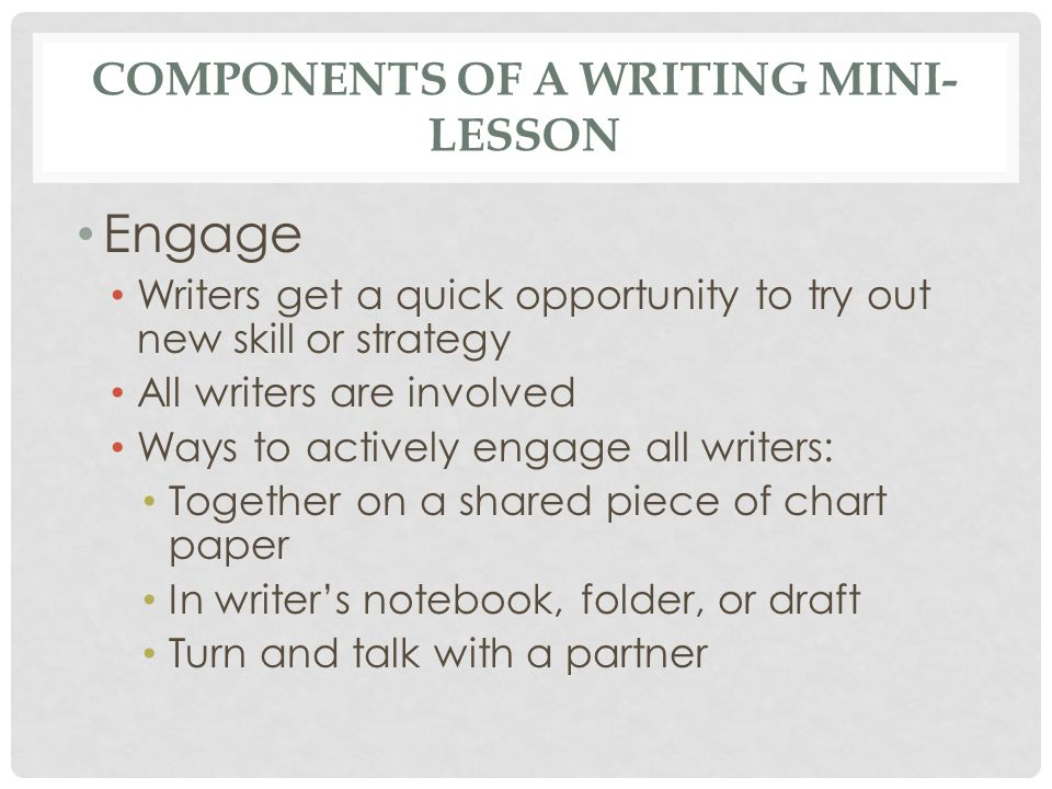 Components of a Writing Mini-Lesson