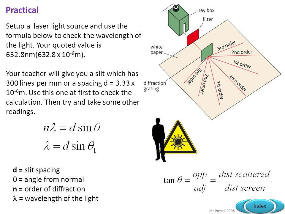 Practical Setup a laser light source and use the formula below to check the wavelength of the light. Your quoted value is 632.8nm(632.8 x 10-9m).
