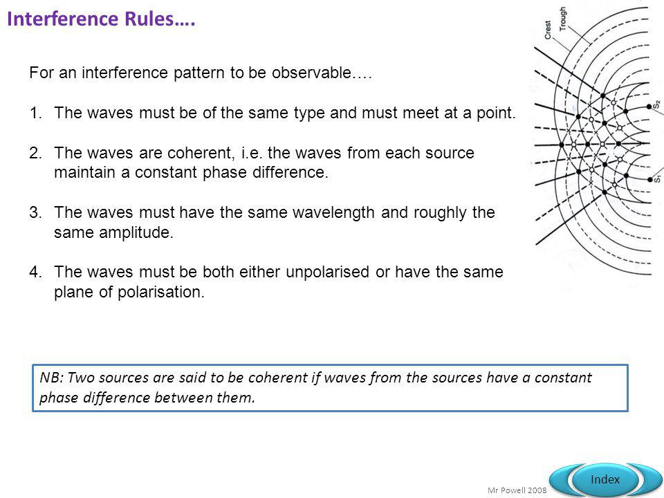Interference Rules…. For an interference pattern to be observable….