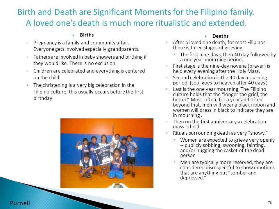 Birth and Death are Significant Moments for the Filipino family.