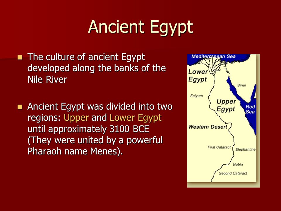 Ancient Egypt The culture of ancient Egypt developed along the banks of the Nile River.