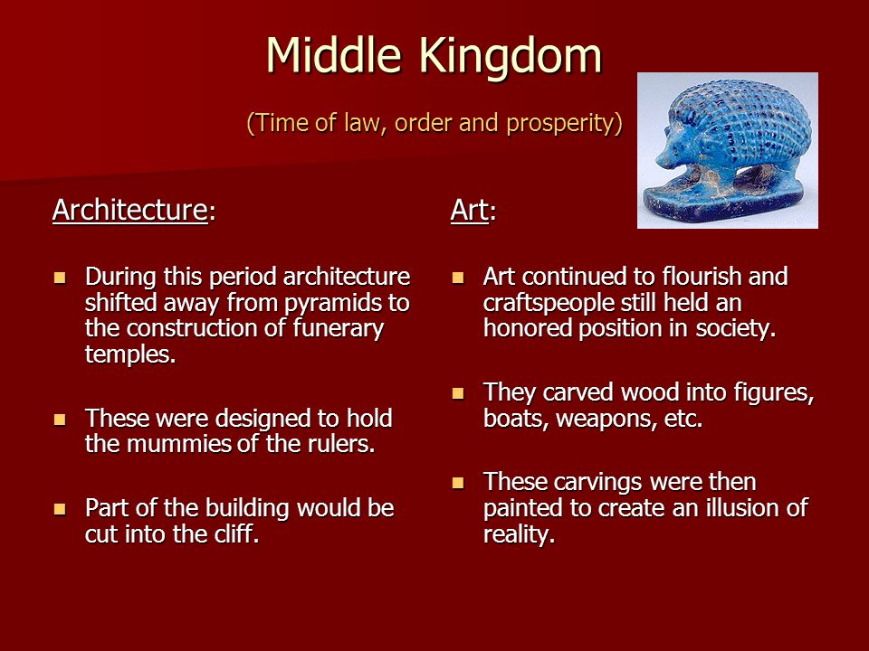 Middle Kingdom (Time of law, order and prosperity)