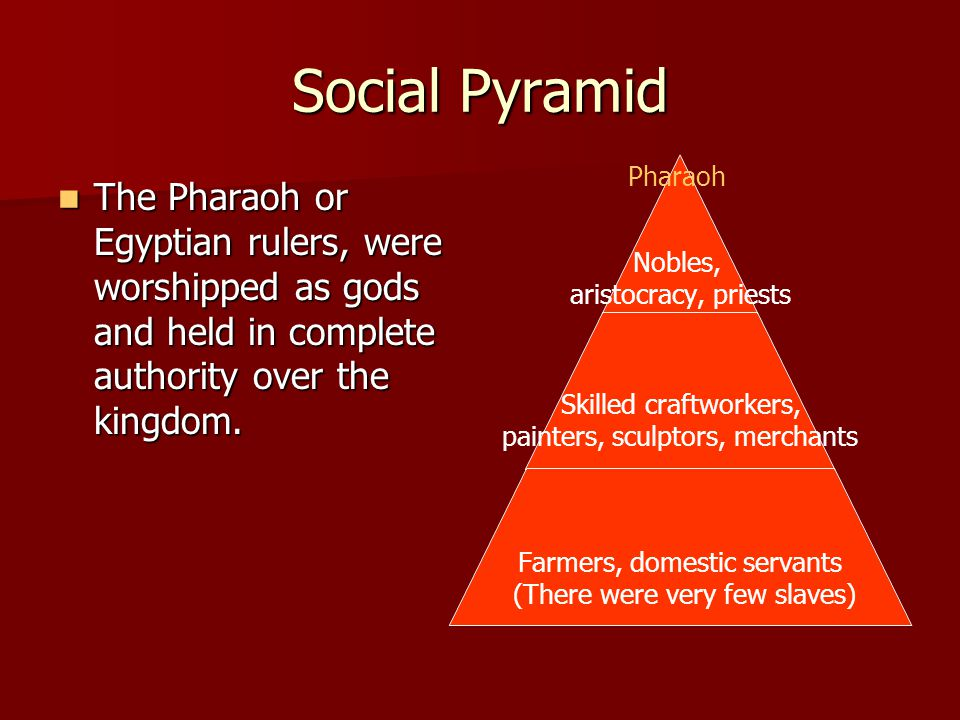 Social Pyramid The Pharaoh or Egyptian rulers, were worshipped as gods and held in complete authority over the kingdom.